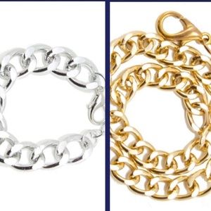 NEW! (2) Pk Gold and Silver Chain Bracelets